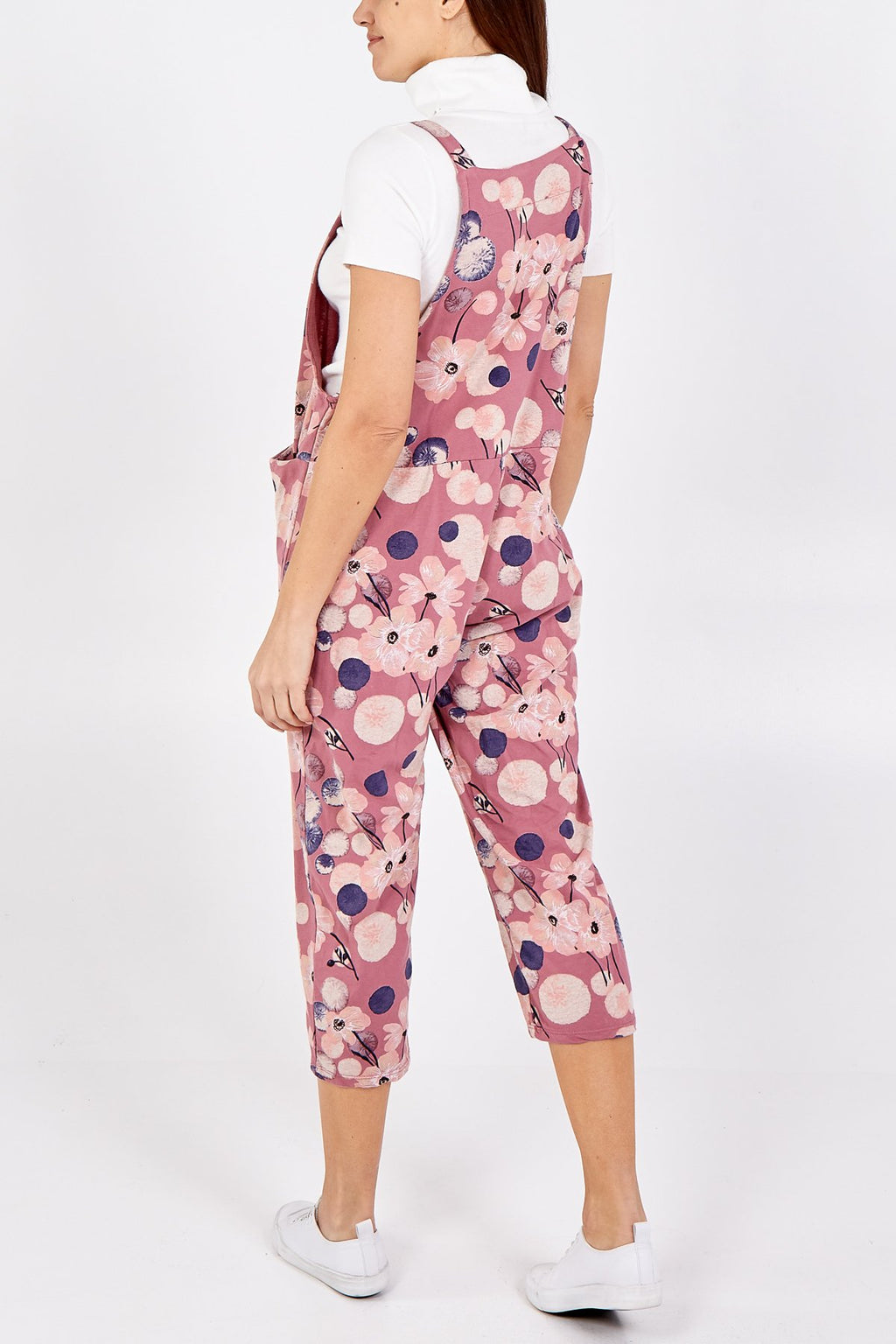 Pink Flower Tie Slouch Dungarees