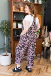 Dusky Pink Leopard Tie Slouch Dungarees - Racer Back