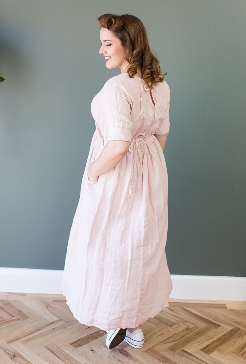 Abigail Pink Linen Midi Dress