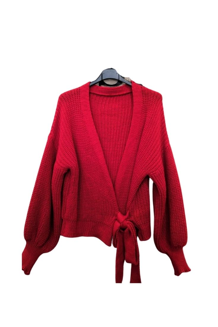 Chunky Knit Wrap Cardigan Red