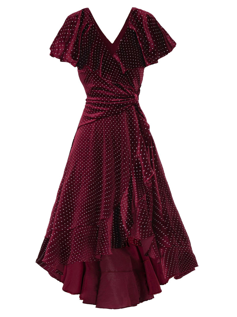 Ruffle Dip Burgundy Spot Velvet Dress