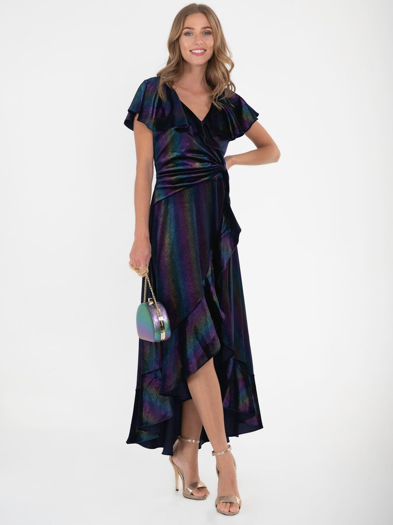 Rainbow Shimmer Velvet Dip Hem Frill Dress