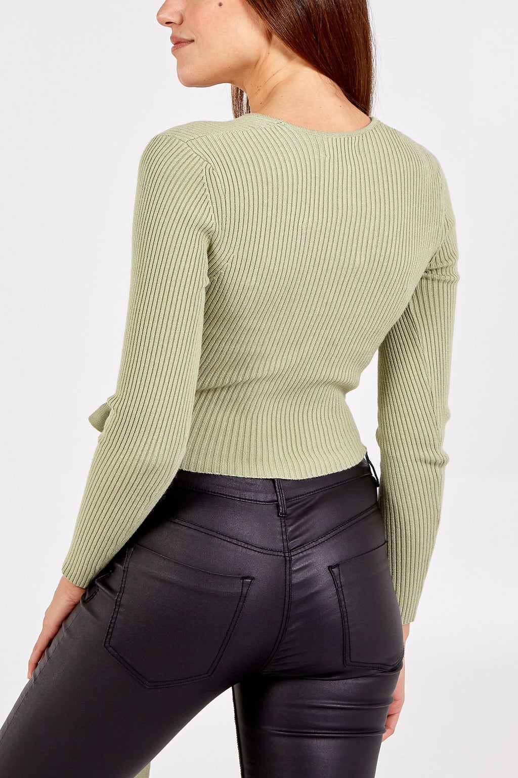 Ribbed Wrap Cropped Jumper - Sage Green