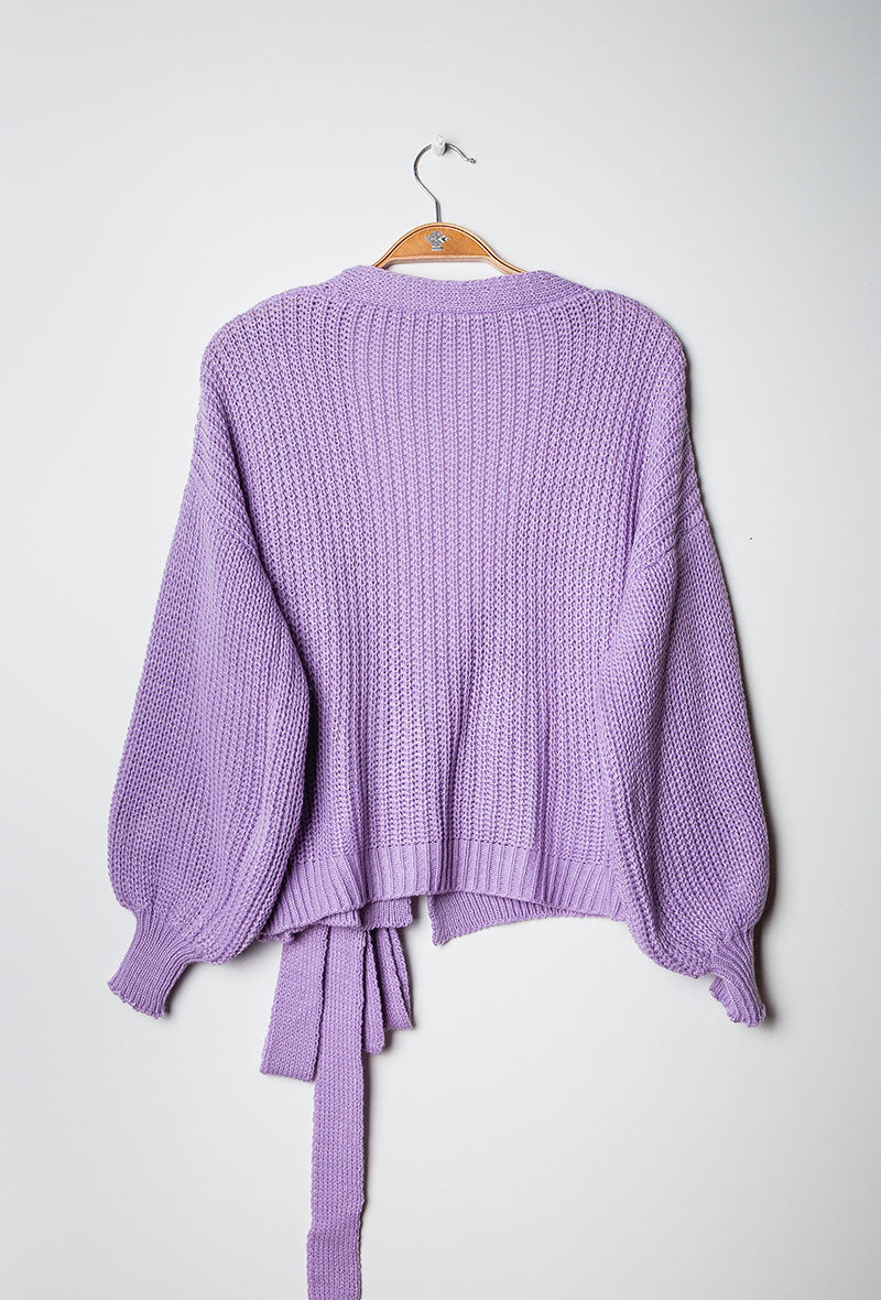 Chunky Knit Wrap Cardigan Purple