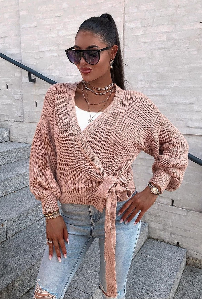 Chunky Knit Wrap Cardigan Rose Pink
