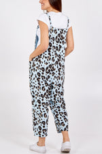 Sky Blue Leopard Tie Slouch Dungarees