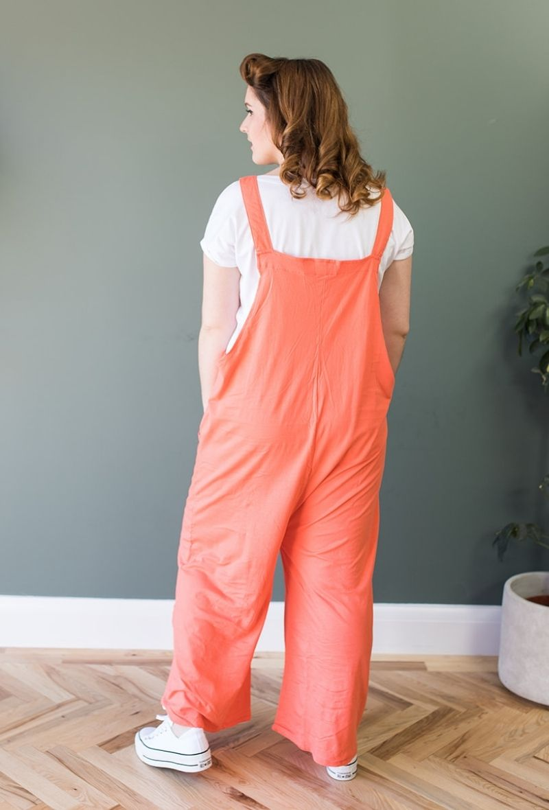 Wide Leg Jersey Dungarees/Romper- Coral