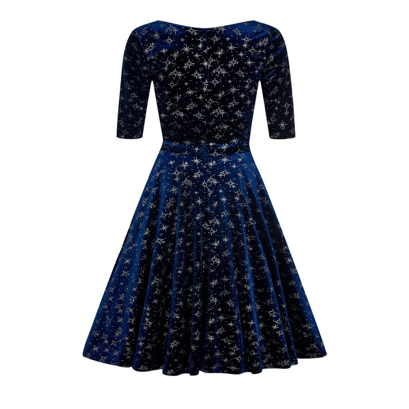 Sparkle Navy 1950s Vintage Dress
