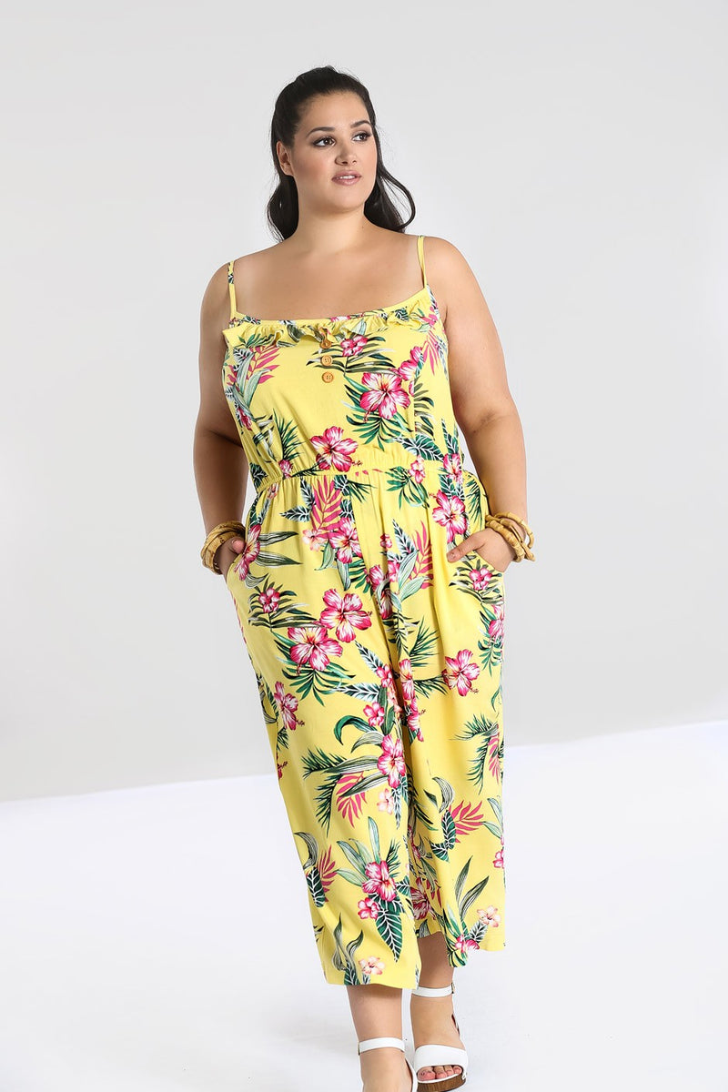 Tropical Paradise Jumpsuit Yellow