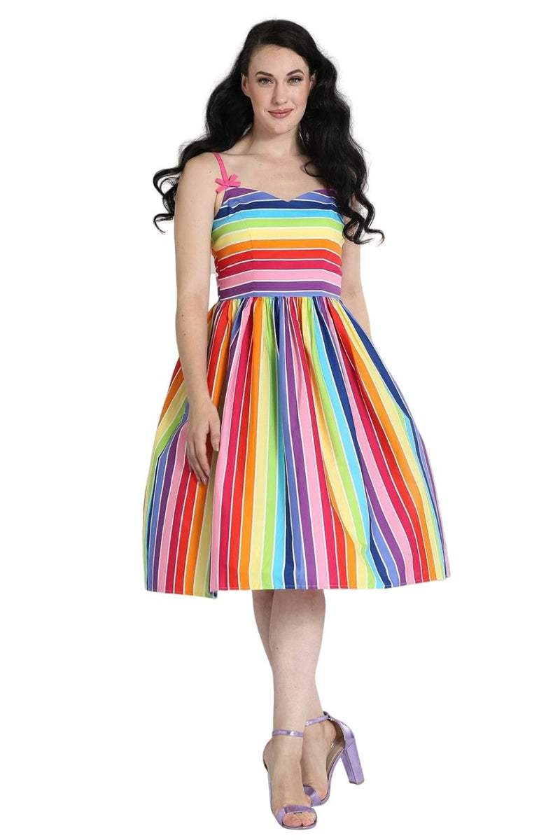 Woman's 1950s Style Rainbow Dress