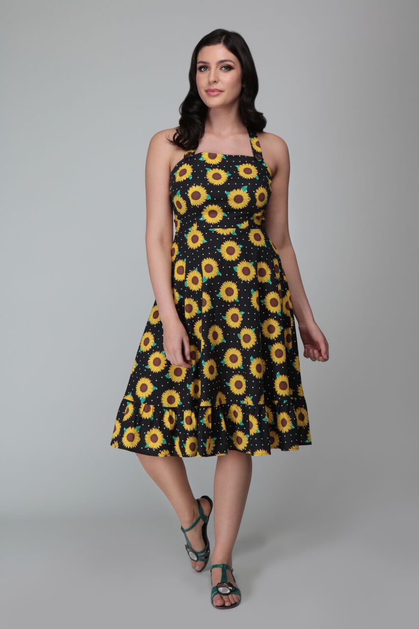 Vintage Sunflower Swing Dress