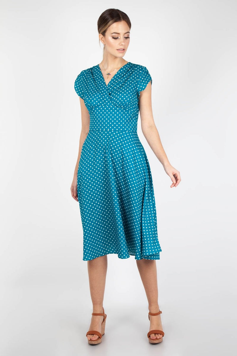 Tabby 1940s Tea Dress in Teal