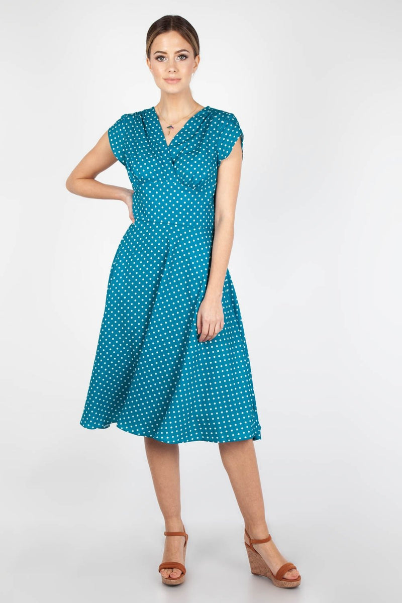 Tabby 1940s Polka Dot Tea Dress in Teal