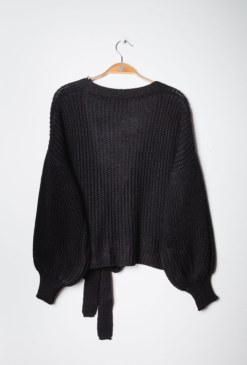Chunky Knit Wrap Cardigan Black
