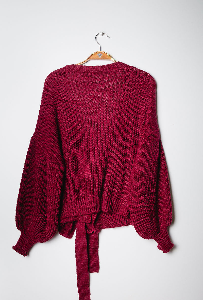 Chunky Knit Wrap Cardigan Burgundy