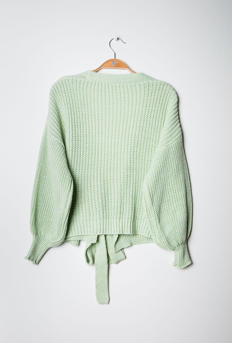 Knit Wrap Cardigan Green