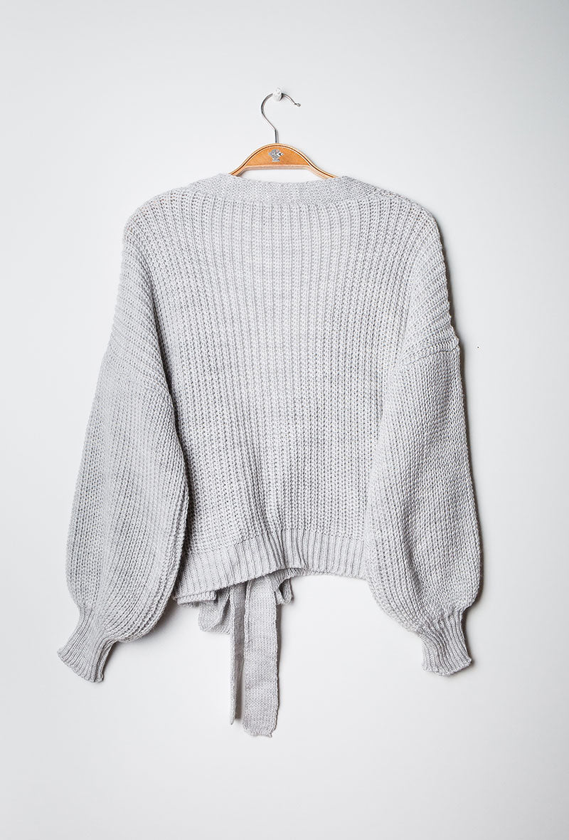 Chunky Knit Wrap Cardigan Grey