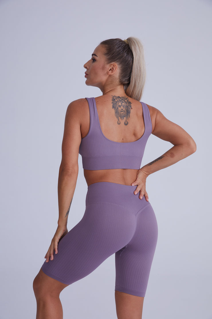 Ribbed Seamless Bike Short Set - Dark Purple