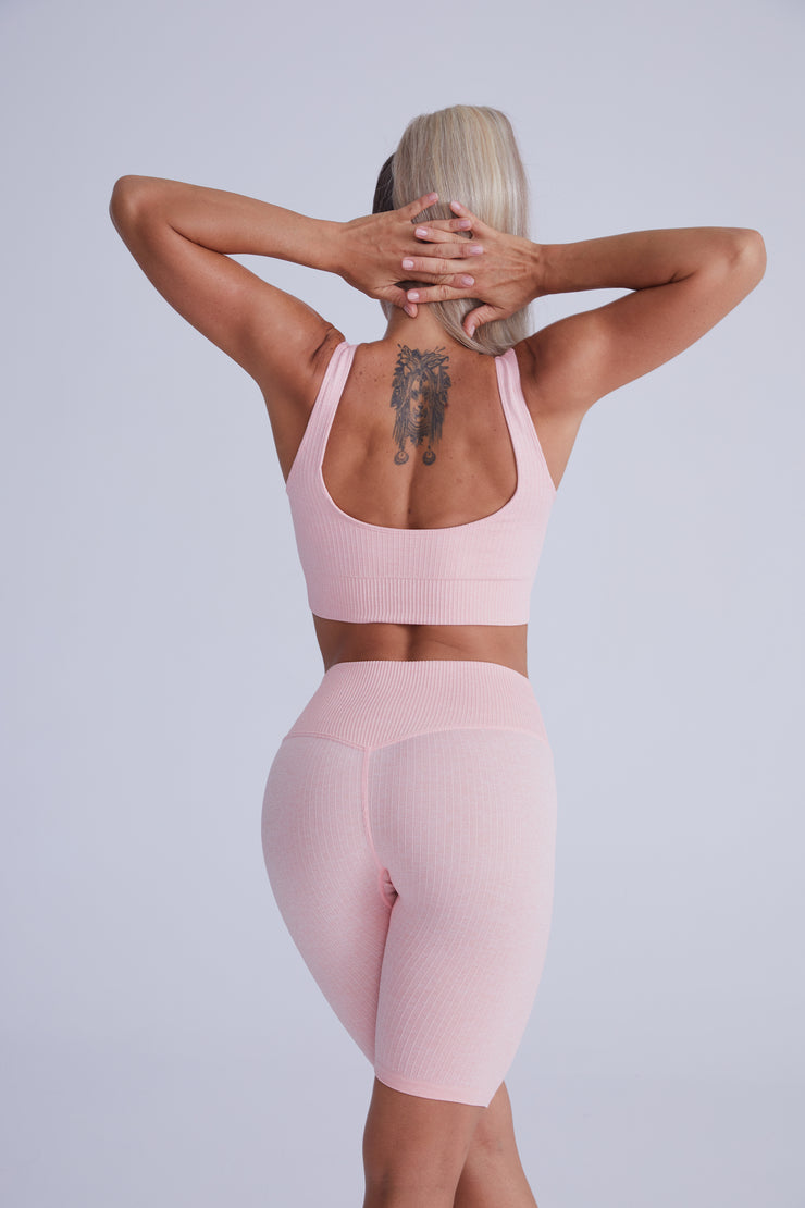 Ribbed Seamless Bike Short Set - Apricot