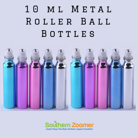 Glass Roll On Bottles with Stainless Steel Roller Ball (10 Pack)