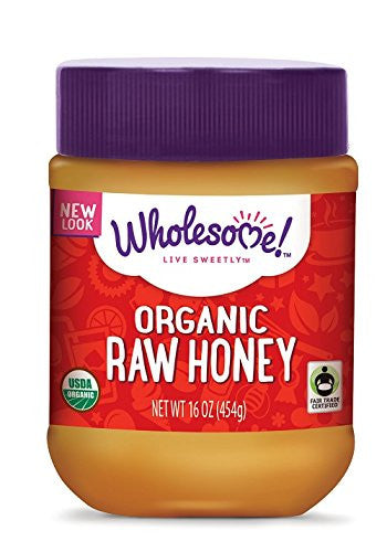 Wholesome Sweeteners Organic Fair Trade Raw Honey, 16 Ounce Jars (Pack of 3)