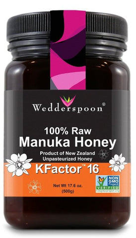 Wedderspoon Raw Premium Manuka Honey KFactor 16+, 17.6 oz