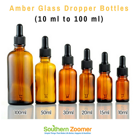 Amber Glass Dropper Bottles (10 ml, 15 ml, 30 ml, 50 ml & 100 ml)