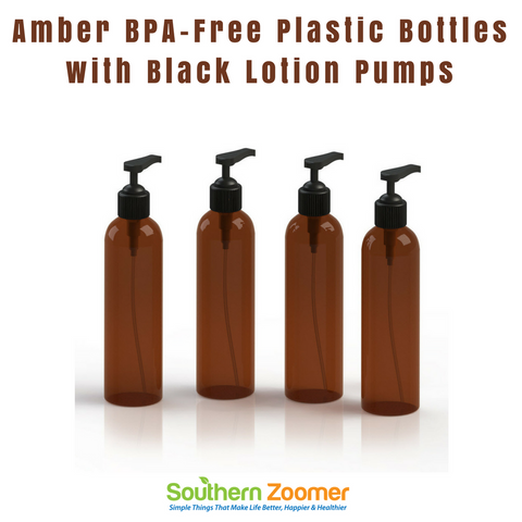 Amber BPA-Free Plastic Bottles with Black Lotion Pumps (Pack of 4)