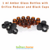 Amber Glass Bottles with Orifice Reducer and Black Caps - 1 ml (Pack of 12)