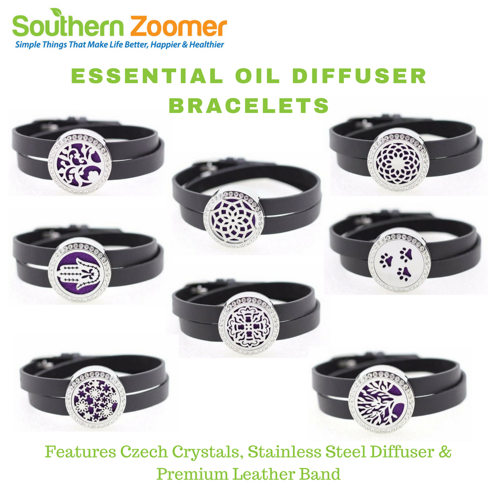 Essential Oil Diffuser Bracelet with Czech Crystals & Leather Band