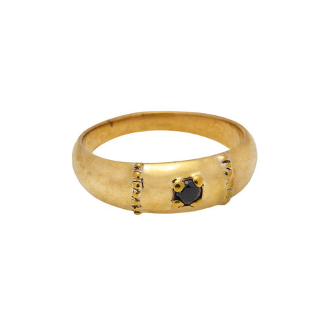 Xzota Ring Brass Molly Onyx Gold Plated