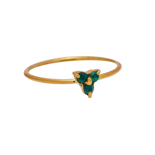 Xzota Ring Brass Triple Green Stone Gold Plated