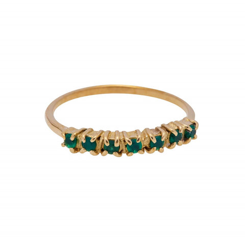 Xzota Ring Brass Vintage Multi Green Zircon Gold Plated