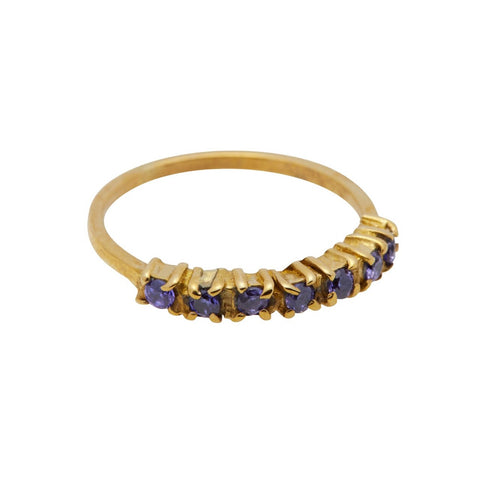 Xzota Ring Brass Vintage Multi Purple Zircon Gold Plated