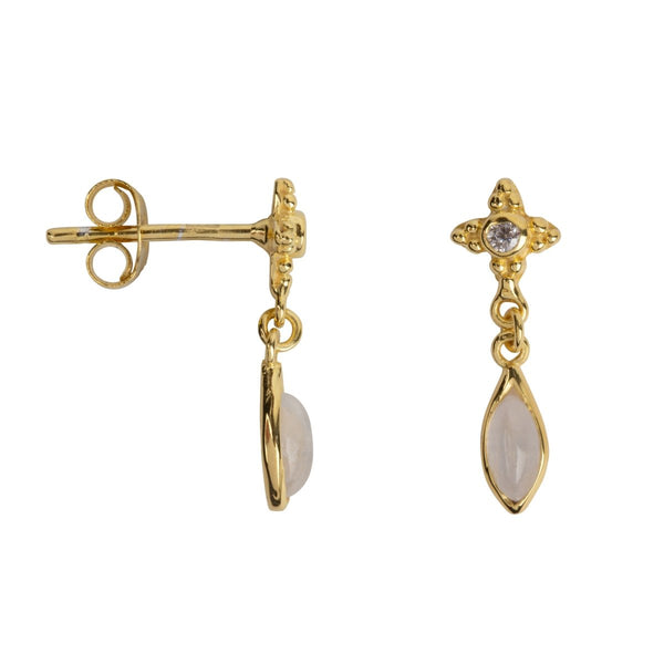 Trendjuwelier Bemelmans - Betty Bogaers Antique Dotted Moonstone with Drop Stud Earring Gold Plated