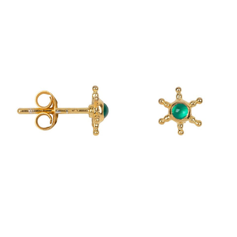 Trendjuwelier Bemelmans - Betty Bogaers Antique Sun Shaped Green Stone Stud Earring Gold Plated