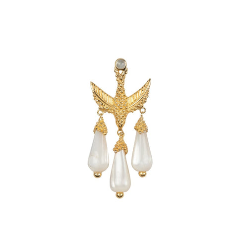 Trendjuwelier Bemelmans - Betty Bogaers Bird Three White Stones Stud Earing Gold Plated