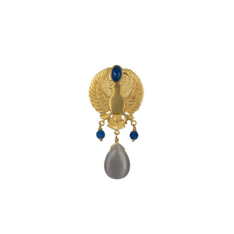 Trendjuwelier Bemelmans - Betty Bogaers Eagle Grey Stone Stud Earring Gold Plated