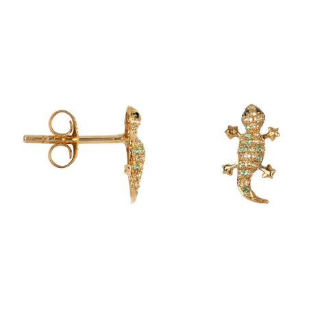 Trendjuwelier Bemelmans - Betty Bogaers Lizard Zirkonia Stud Earring Gold Plated