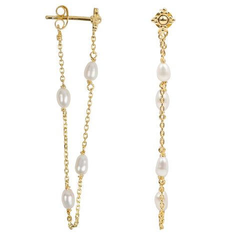 Trendjuwelier Bemelmans - Betty Bogaers Pearl Chain Stud Earring Gold Plated