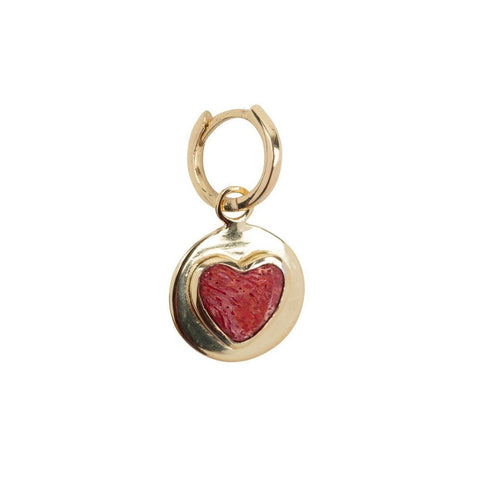 Trendjuwelier Bemelmans - Betty Bogaers Red Heart Small Hoop Earring Gold Plated