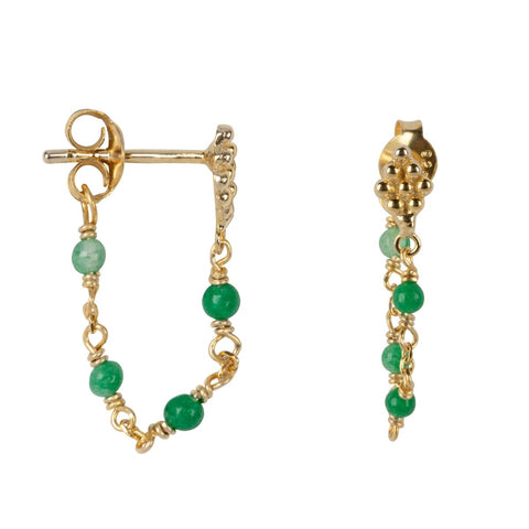 Trendjuwelier Bemelmans - Betty Bogaers Wieber Chain Green Stones Stud Earring Gold Plated