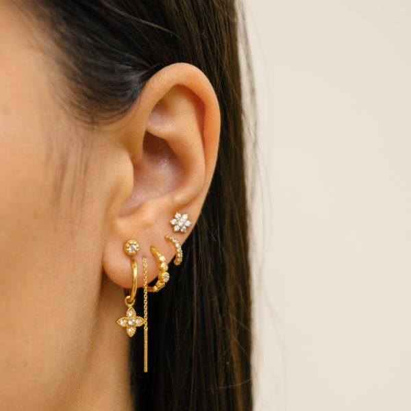 Trendjuwelier Bemelmans - Eline Rosina Five Stoned White Zirconia Hoops In Gold Plated Sterling Silver