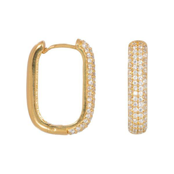 Trendjuwelier Bemelmans - Eline Rosina Icon Pavé Hoops In Gold Plated Sterling Silver
