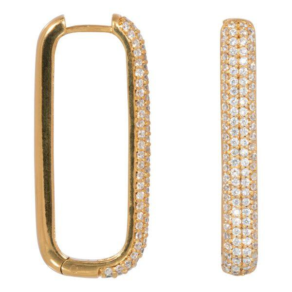 Trendjuwelier Bemelmans - Eline Rosina Large Icon Pave Hoops In Gold Plated Sterling Silver