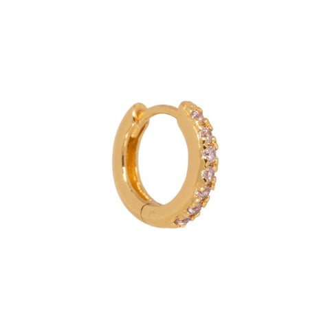 Trendjuwelier Bemelmans - Eline Rosina Single Pink Huggie Hoop In Gold Plated Sterling Silver