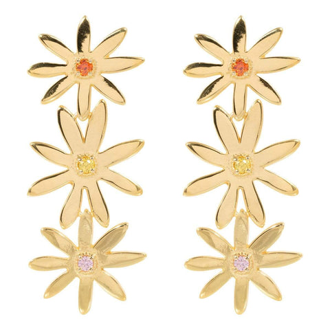 Trendjuwelier Bemelmans - Eline Rosina Statement Daisy Earrings In Gold Plated Sterling Silver