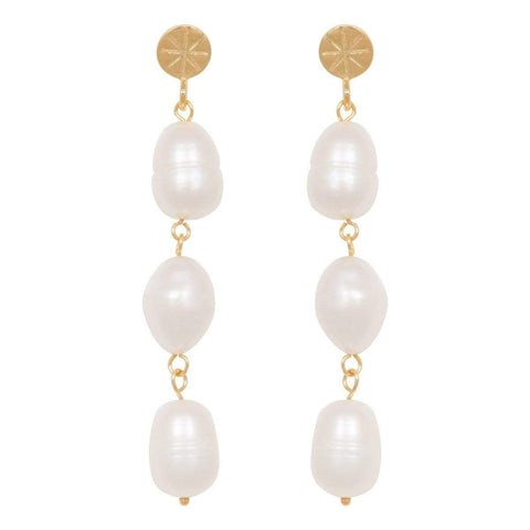 Trendjuwelier Bemelmans - Eline Rosina Statement Freshwater Pearl Earrings In Gold Plated Sterling Silver