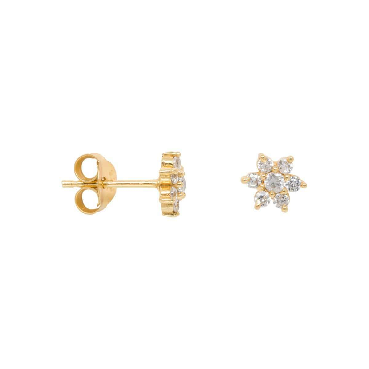 Trendjuwelier Bemelmans - Eline Rosina Zirconia Flower Earrings in goldplated sterling silver