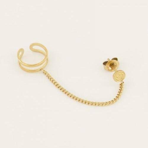 Trendjuwelier Bemelmans - My Jewellery Ear Cuff Smiley Stud Gold Plated
